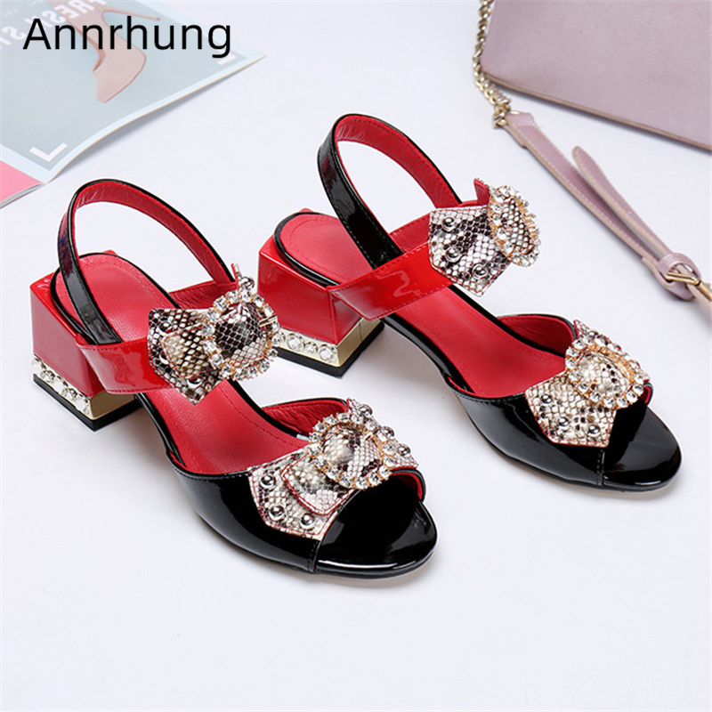 Sexy Serpentine Butterfly-knot Sandals Women Jeweled Square Heel Open Toe Ankle Strap Rhinestone Bowtie Party Shoes Woman
