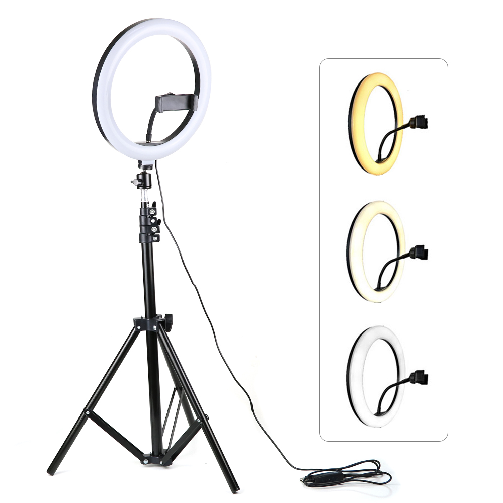 DishKooker 16//26cm Dimmable LED Studio Camera Ring Light Phone Video Light Lamp Selfie Stick Ring Table Fill Light 16CM Set