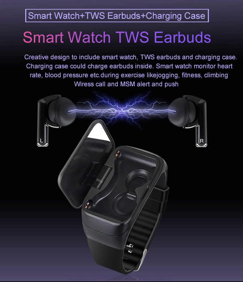 Smart Watch Bluetooth Earphone Heart Rate Monitor - Smartwatches - Simple, Long Lasting, Comfortable