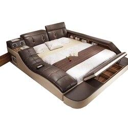Cama de couro genuíno real com massagem/camas de casal quadro king/queen size quarto móveis camas modernas