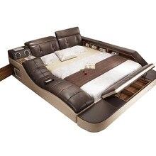 Echte echtem leder bett mit massage/doppel betten rahmen könig/königin größe schlafzimmer möbel camas modernas muebles de dormitorio