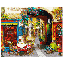 WEEN Flower Street-DIY Painting By Numbers Kit,Acrylic Paint,Modern Wall Art Picture,Hand Painted Oil Canvas 40x50cm