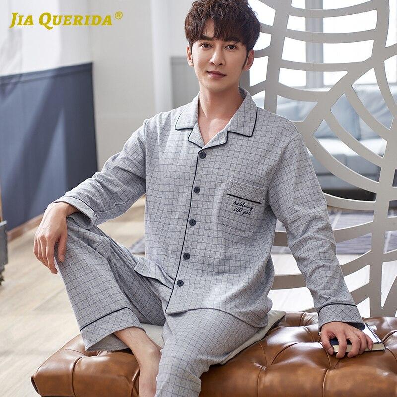 Pajamas For Men Long Sleeve Nightwear Mens Sleepwear 100% Cotton Mens Pajama Set Luxury Cardigan 4xl Letter Embroidery Pajamas