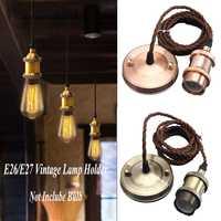 Estilo do vintage luzes de cobre e27 suporte da lâmpada soquete 110 v 220 v interruptor parafuso lustre montagem e27 base lâmpada com 2m fios|Base da luminária| |  -