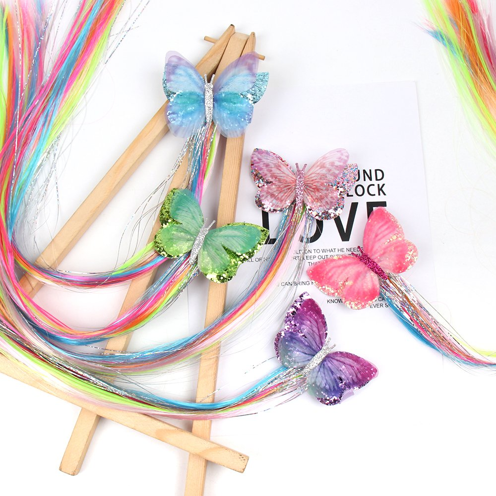 ncmama Butterfly Glitter Hair Clips for Girls with Colorful Wig Handmade Double Bows Boutique Hair Barrettes for Kids Headwear in Hair Accessories from Mother Kids