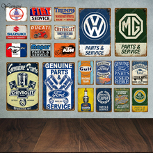 Decorative Plates Signs Garage-Decor Wall-Stickers Tin-Poster Motor-Car-Sales-Parts Service