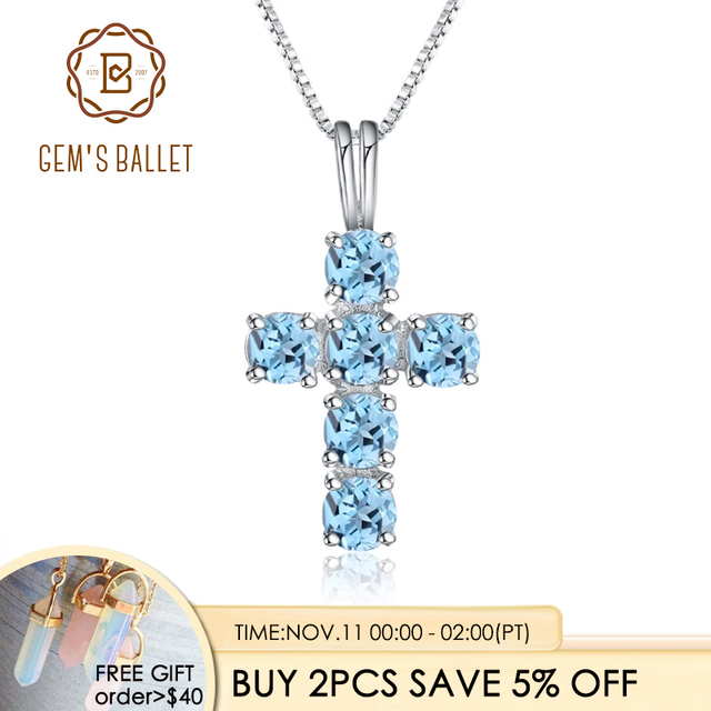 Gems Ballet Natural Swiss Blue Topaz 925 Sterling Silver Gemstone Cross Pendant Necklaces for Women Fine Jewelry Collares
