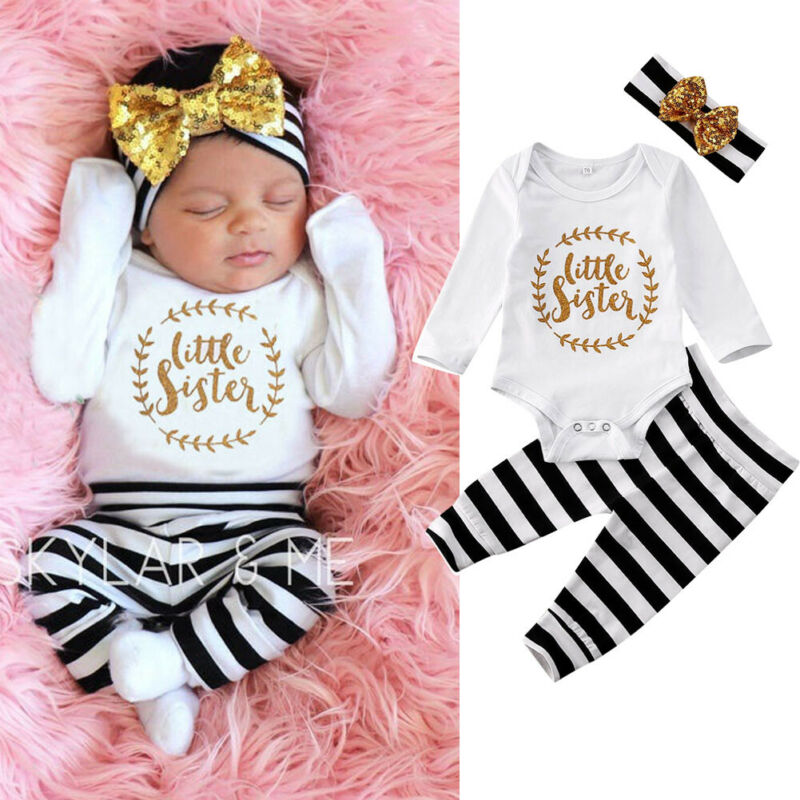0-12 Months Newborn Girls 3pcs Outfits Litter Sister Letter Baby Girl Rompers Jumpsuit Striped Pants Baby Girls Clothing Set
