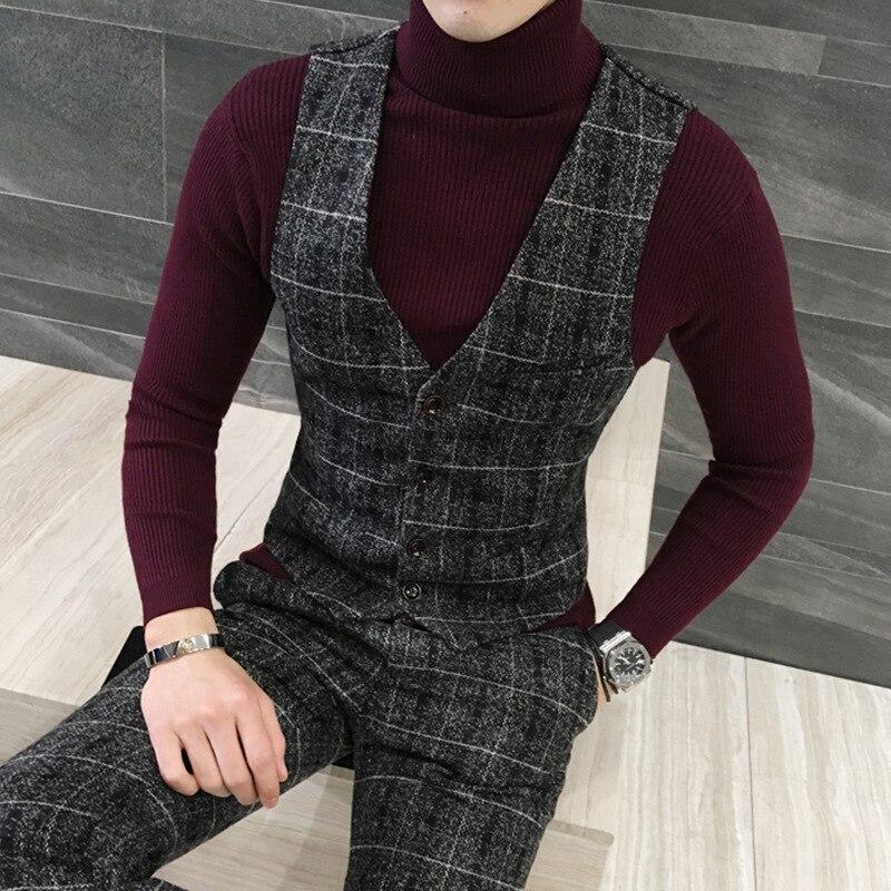 2020 Thick New Men Vest Winter Woolen Fashion Plaid Vest Men Formal Dress Suit Vest Slim Fit Waistcoat Gilet Plus Size Colete