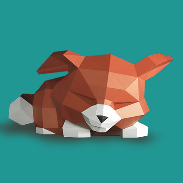 Sad Fox Animal Decor Home Decoration Paper Model Ornaments,Low Poly 3D Papercraft,Handmade DIY Origami Adult Craft Toy RTY210 2