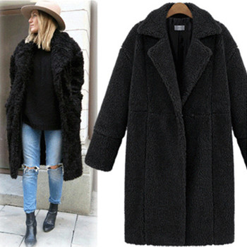 2019 autumn and winter new women's cotton jacket cashmere long-sleeved solid color long coat wool coat 1