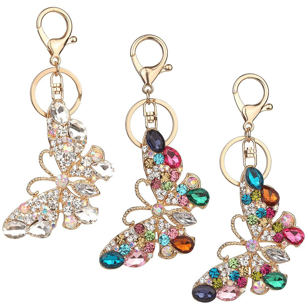 Glossy Colorful Rhinestone Butterfly Decor Keychain Key Ring Bag Pendant Gift KeyChain Handmade Key Rings For Woman Jewelry