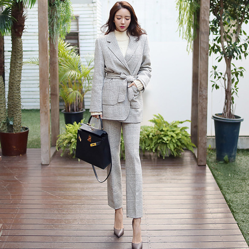Winter Temperament Professional Women's Suit Casual Trousers Suit 2019 New Slim Plaid Ladies Blazer Elegant Trousers Two-piece