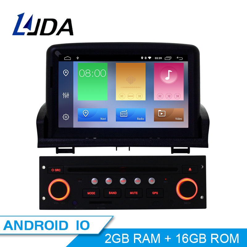 LJDA 1din 7 Inch Android 10.0 Car DVD Player For Peugeot 307 2007-2011 GPS Navigation Bluetooth USB Multimedia Free Map FM Radio