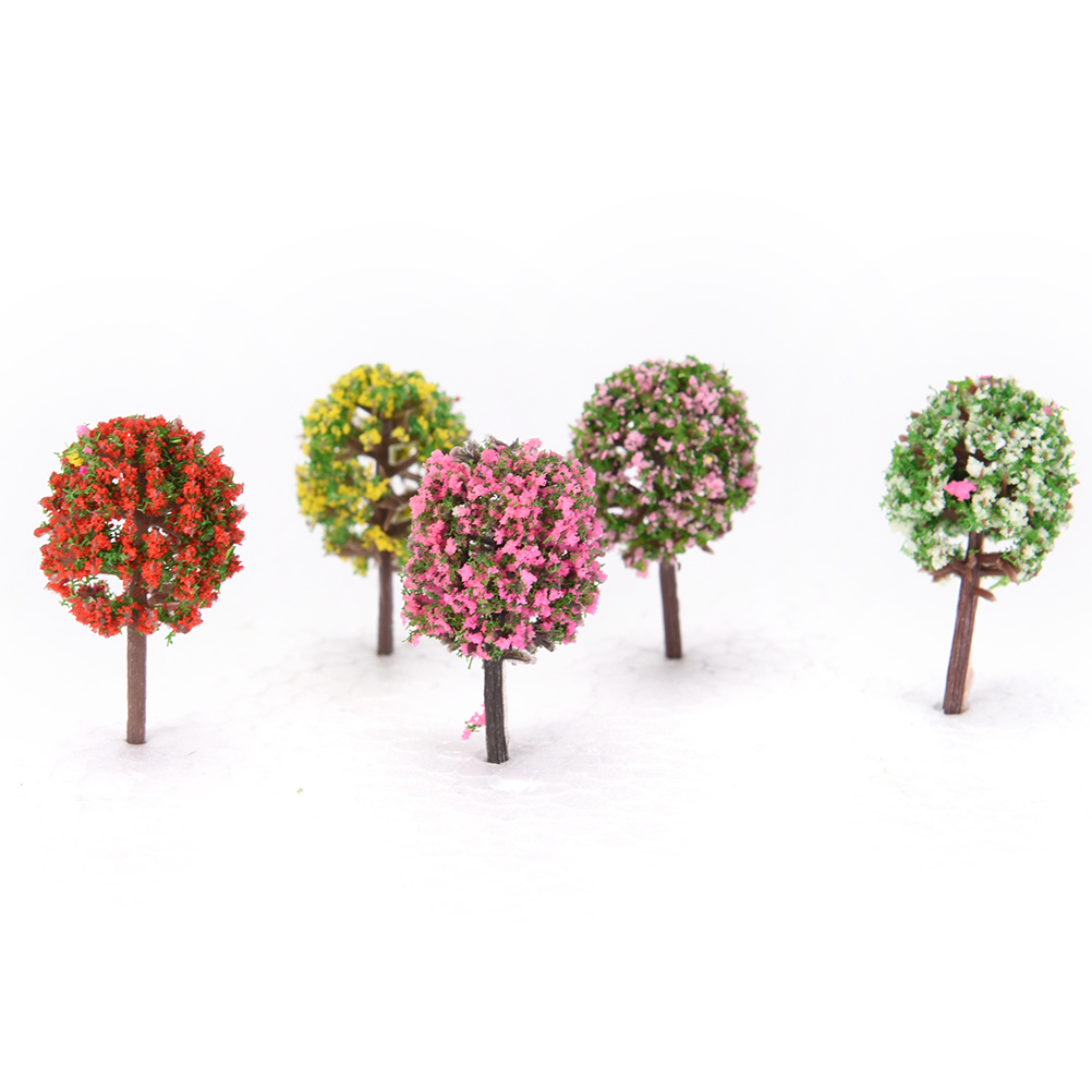 5pcs Mini Tree Fairy Garden Decorations Miniatures Micro Landscape Resin Craft Bonsai Figurine Garden Terrarium Accessories