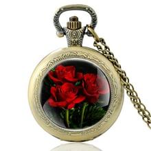 Высокое Качество Старинные Цветок Розы Стеклянный Купол Кварцевые Карманные Часы Классический Мужчины Женщины Бронзовый Ожерелье Подарки