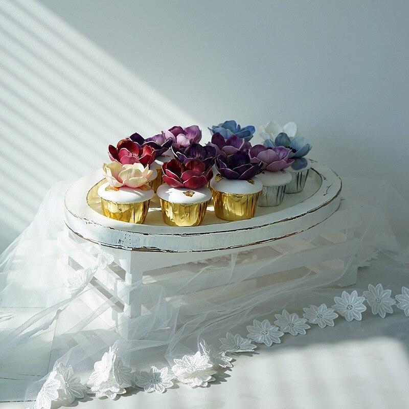 Plateau de rangement en bois Rural français rétro pastorale gâteau de fruits assiette à Dessert blanc ovale bijoux présentoir décor de bureau à la maison accessoire - 3