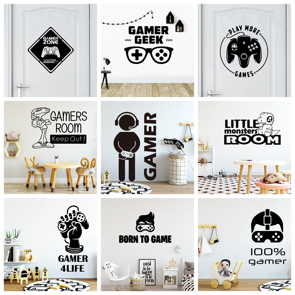 Personalized Gamer Vinyl Wall Sticker For Kids Room Art Decals Fashion Children Vinyl Wallstickers Mural Pegatinas Gamer
