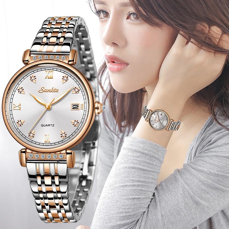SUNKTA Rose Gold White Women Watch Business Quartz Watch Ladies Top Brand Luxury Female Wrist Watch Girl Clock Relogio Feminin