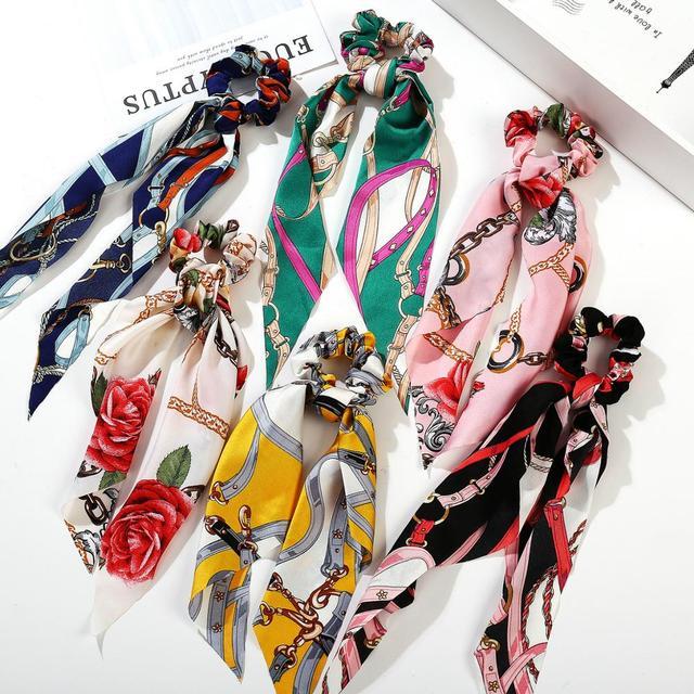Bohemian Floral Spot Long Hair Scrunchies Hair Ribbon Elastic Hair Bands Hair Accessories Ponytail Hair Scarf For Women 5