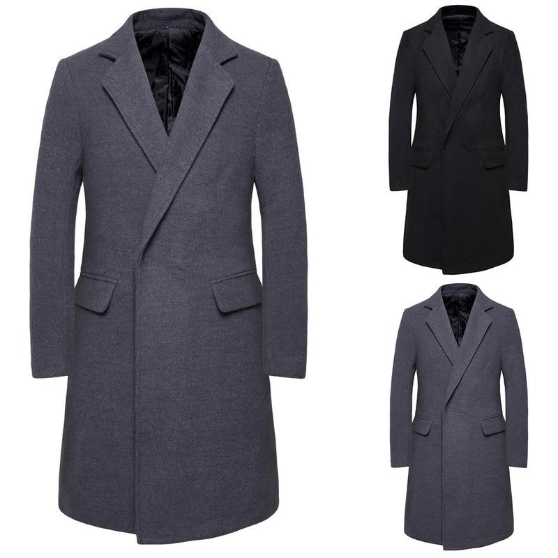 Wool Coat Men Trench Thick Overcoats Topcoat Mens Windbreaker Coats Jackets Slim Fit Dust Coat Double-breasted Gentleman Parka