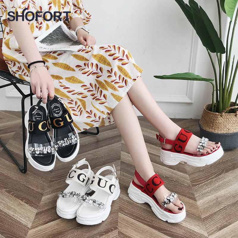 SHOFORT Wedges Shoes For Women Platform Sandals 2020 Cool Summer Sandals Thick-soled Shoes Wild Beach Sandals Zapatos De Mujer