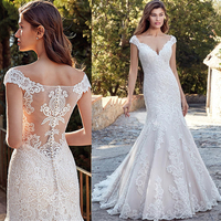 Vestido de Noiva Lace Wedding Dresses 2020 Sheer See-Through Bridal Gowns Mermaid V-Neck Wedding Dress  Bride Formal Gown