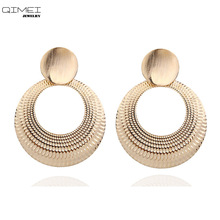 CC big Statement vintage round drop earrings with zinc alloy color gold For Women circle Dangle Earrings party Jewelry wholesale seuhuoran drop earrings for woman zinc alloy clip with shiny sequins resin water drip earrings big pendants jewelry brand