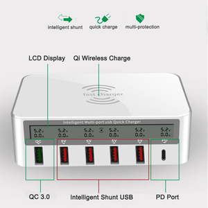 Image 2 - 100W Quick Charge 3.0 5 USB Ports Tpye C PD Fast Charger Qi Wireless LCD Display Multi Charger For Phone USB Charging Station