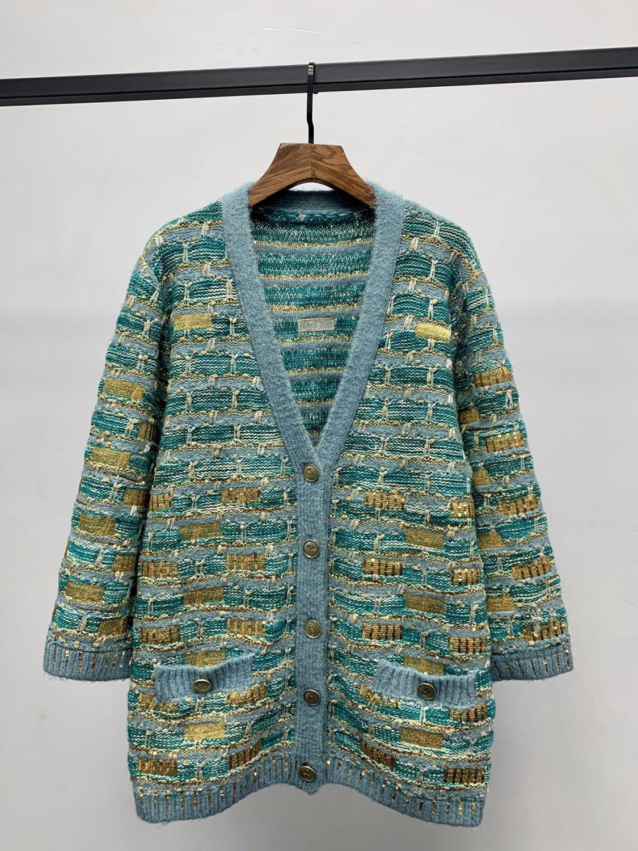 Europe style Fashion women's V-neck Knitted coat spring autumn elegant sequins embroidery cardigans coat B618