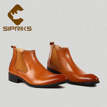 Sipriks Chelsea Boots For Men Classic Stretch Leather Boots Winter Warm Male Cowboy Boot High Tops Slip-on Trendy Shoes Rubber(China)