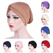 Модная женская полиэфирная мусульманская эластичный тюрбан шапка после химиотерапии шапка для выпадения волос головной платок обертывание Кепка Высокое качество Горячая Распродажа Rk