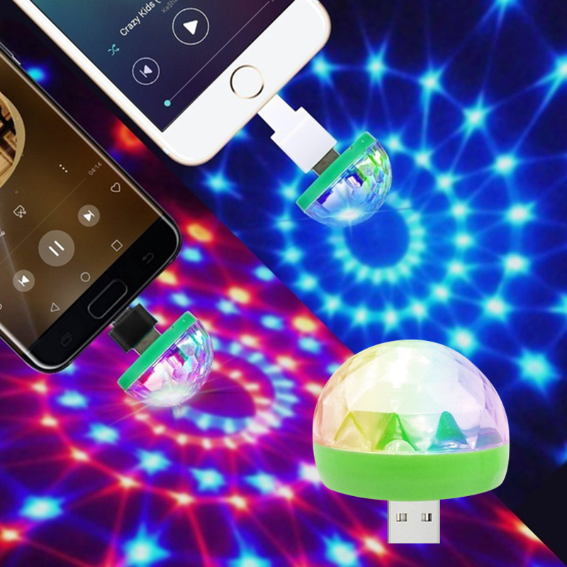 3W Mini USB LED Disco Light For Mobile Phone Stage Lights Voice-Activated Portable Magic Ball DJ Party D40