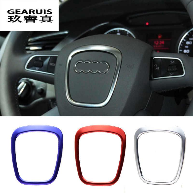 Araba Styling direksiyon merkezi logo çıkartmalar kapakları Trim için Audi A4 B6 B7 B8 A6 C6 A5 Q7 Q5 A3 8P S3 8v iç aksesuarları