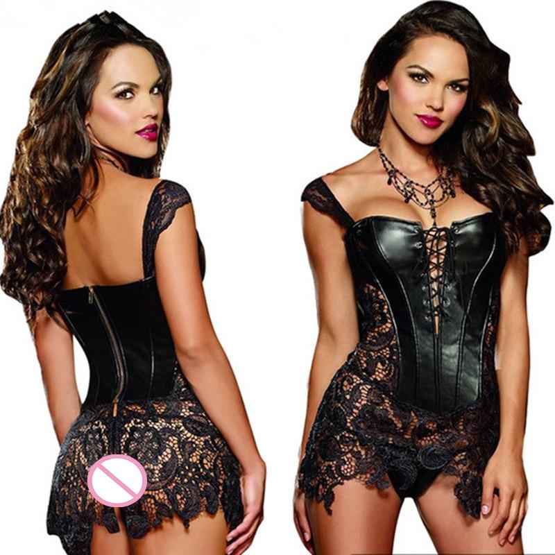 S-5XL Sexy Lingerie Hot Women Leather Dress Corset Porno Erotic Underwear Nightclub Plus Size Babydoll Sexi Lingerie Sex Product