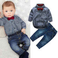 Bebé niño Formal fiesta boda 2 uds Pelele con lazo pantalones largos traje otoño ropa infantil para niños Caballero traje