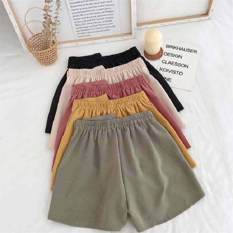 Genayooa Büro Elastische Taille Shorts Frauen Mini Hohe Taille Shorts mit Gürtel Breite Bein Sommer 2020 Harajuku Koreanische Kurze Feminino
