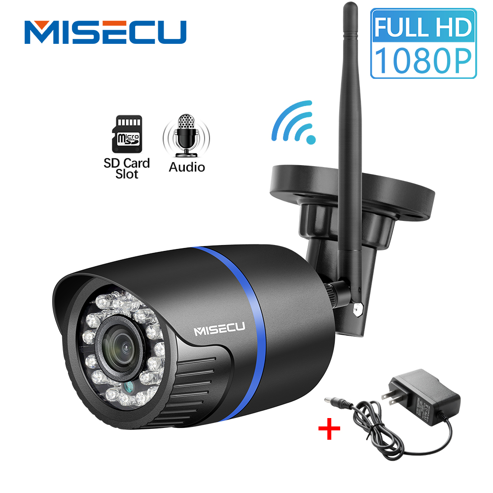 MISECU 1080P Wifi IP Camera SD Card Audio Wireless Outdoor Waterproof Security Camera 2MP ONVIF P2P Night Vision Free Adapter