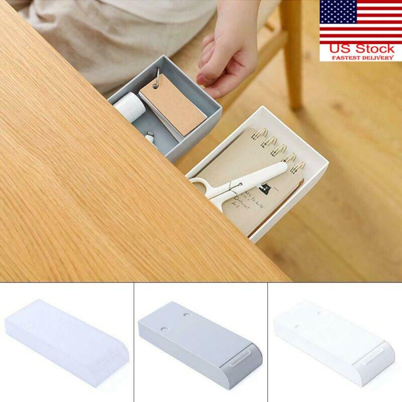 2020 Newest Pencil Tray Self-Adhesive Under Desk Drawer Hidden Organizer Storage Holder Case 3Styles