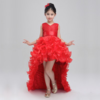 Flower Girl Dresses Red Chiffon Tailing Pageant Dresses Girl Summer Dresses for Weddings Party Birthday Piano Dress with Big Bow
