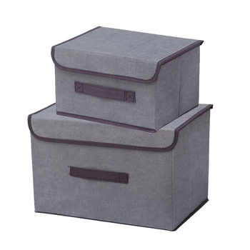 2pcs Non-woven Cloths Storage Organizer Boxes Solid Covered Dust-proof Home Organizer For Things Storage Box For Storing Toys
