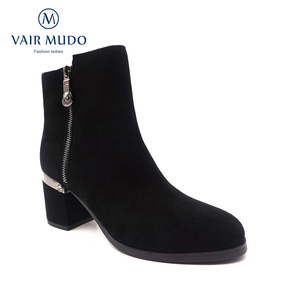 VAIR MUDO moda kadınlar kış yarım çizmeler ayakkabı 2020 yeni varış sıcak rahat kısa peluş kadın yüksek topuklu çizmeler DX36