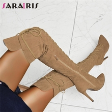SARAIRIS New INS 35-47 Sexy lace-up Over The Knee Knight Boots Lady Thigh High Boots Women 2019 Party High Heels Shoes Woman choudory boots women shoes genuine leather thigh high boots sexy fashion over the knee boots shoes woman high hoof heels lace up