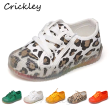 Children Canvas Casual Shoes Leopard Print Rainbow Transparent Sole Boys Girls Sneakers Non Slip Rubber Soled Kdis Flat
