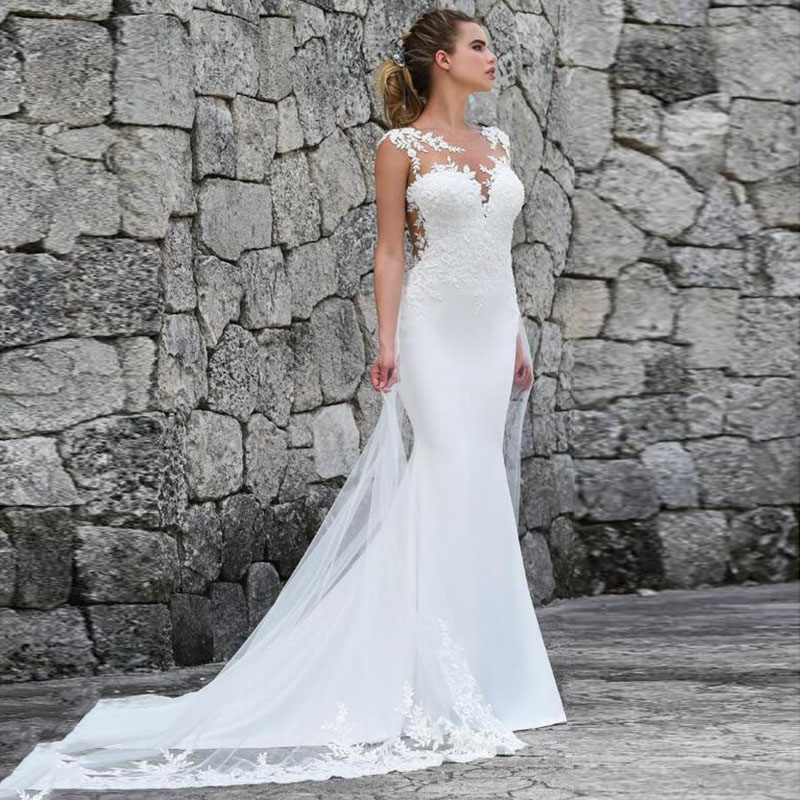 Mermaid Wedding Dresses Turkey 2019 Appliques Lace Custom Made Cheap Illusion Bridal Dress Wedding Gown Vestido De Noiva Plus