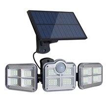 Luz solar led ao ar livre iluminação 3 cabeça sensor de movimento grande ângulo iluminação super brilhante à prova dlamp água lâmpada parede controle remoto