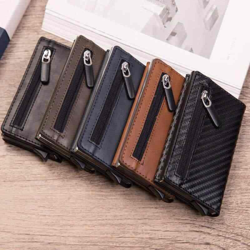 Mıknatıs Rfid engelleme kart tutucu kadın erkek cüzdan ince ince cüzdan deri bozuk para cüzdanı küçük erkek siyah Mini cüzdan portomonee
