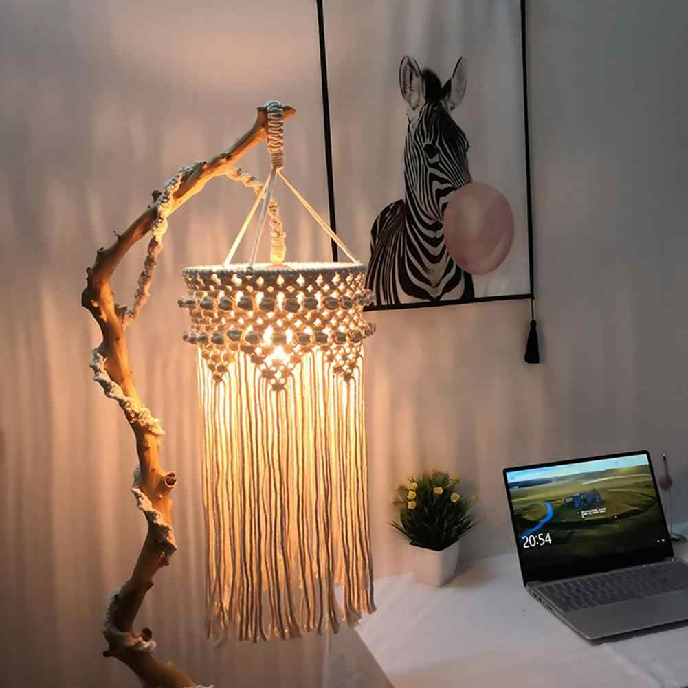 北欧スタイル綿ロープ手ニットシェードマクラメぶら下げランプの装飾リビングルームタッセルシェードタペストリー