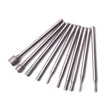 10 sztuk 2.35mm Shank Diamond Burr zestaw bitów głowica szlifująca narzędzie obrotowe 0.84mm do 5mm dla Jade szkło grawerowanie otwór narzędzia do wiercenia