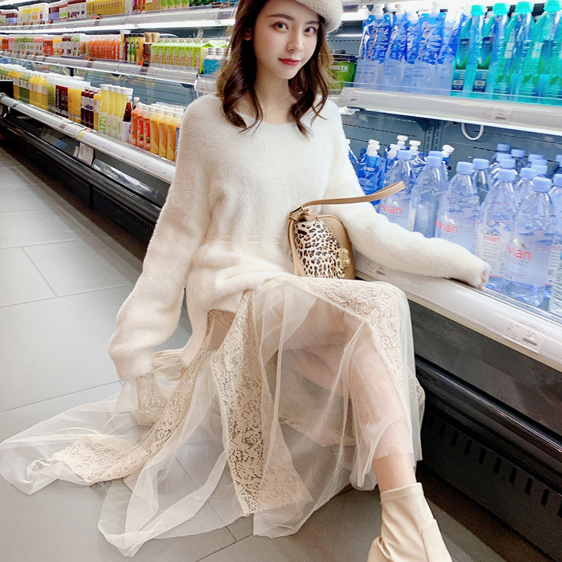 New Style Korean-style Spring Set V-neck Waist Hugging Sweater Tops + Dress Women's Two-Piece Set F5765